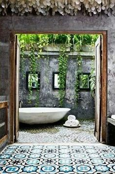 6 Resolute Tips AND Tricks: Natural Home Decor Boho Chic Rugs natural home decor diy house smells.Natural Home Decor Diy Woods natural home decor diy mason jars.Natural Home Decor Feng Shui House Plants. Outdoor Baths, Outdoor Bathrooms, Outdoor Tub, Outdoor Showers, Luxury Bathrooms, Outdoor Spaces, Dream Bathrooms, White Bathrooms, Master Bathrooms