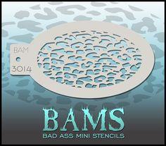 BAM3014 Bad Ass Mini Stencil: Silly Farm Supplies Inc. Face Painting | Body Painting | Airbrush Supplies | Arty Brush Cakes | Rainbow Cakes | Clown Supplies