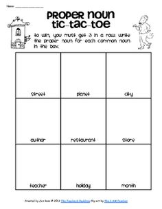 Second Grade Week Proper Noun Tic Tac Toe. Students can play tic tac toe with proper nouns in the classroom. The student must get three proper nouns in a row to win. Teaching Nouns, Teaching Language Arts, Classroom Language, Teaching Writing, Speech And Language, Teaching Ideas, Word Study, Word Work, Common And Proper Nouns