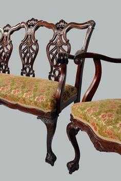 Colonial Revival Three Pc Parlor Set, Mahogany, Metal Label Karpen Furniture,  Chicago New York