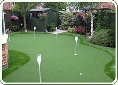 Professional quality artificial putting greens by LazyLawn. Perfect your putting and chipping in your own garden.