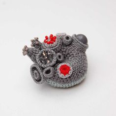 Crochet art brooch, coral collection by ELIN, grey and red, textile brooch, unusual gift, one of a kind gift, freeform crochet, coral reef