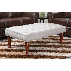 $242 Abbyson Living Soho Tufted Linen Ottoman Bench | Overstock.com Shopping - Great Deals on Abbyson Living Ottomans