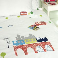 Going Places Embroidered Childrens Bed Linen