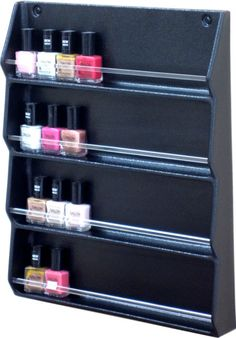 We need this on the wall so we can see what we have!  NAIL POLISH WALL RACK ORGANIZER WITH CLEAR RODS BY DINA MERI | eBay