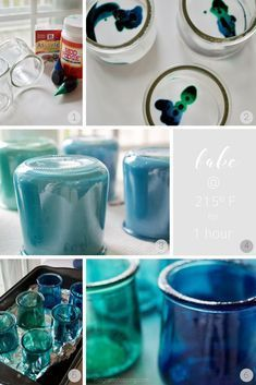 Colored Oui Jars Easily dye your empty Oui yogurt jars to create pretty home decor and storage!Easily dye your empty Oui yogurt jars to create pretty home decor and storage! Crafts With Glass Jars, Wine Bottle Crafts, Mason Jar Crafts, Mason Jar Diy, Creative Crafts, Fun Crafts, Arts And Crafts, Paper Crafts, Preschool Crafts