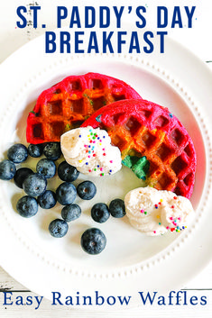 Make these adorable Rainbow Waffles with the simple recipe from Everyday Party Magazine #RainbowFood #StPatricksDayFood