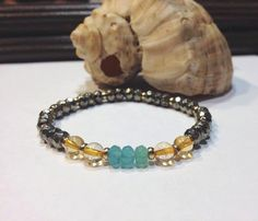Pyrite Healing Bracelet with Aquamarine and by JewelzonJewelz