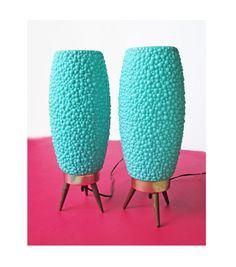 "1950s-60s Mid Century Atomic ""Rocket"" Aqua Danish Beehive Plastic Lamps on Etsy, $280.00"