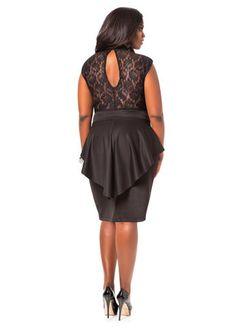 Lace Top Peplum Dress - Ashley Stewart