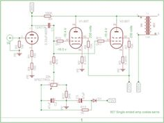 807-tube-amp-schematic Dc Circuit, Circuit Diagram, Diy Electronics, Electronics Projects, Amp Settings, Valve Amplifier, Rain Wear, Crafts, Science