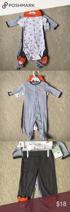 Carters four piece layette set Brand new with tags 3 month Carters four piece layette. Hat, short sleeve bodysuit, footed pants and pajama. Fox themed. Carter's Matching Sets