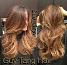 Warm chocolate base with creamy caramel ombré by Guy Tang