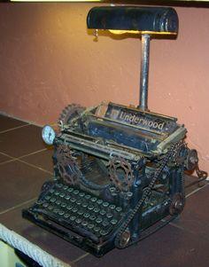 Steampunk typewriter lamp/ J Dooley Steampunk Clothing, Steampunk Fashion, Gothic Elements, Pipe Lamp, Needful Things, Retro Futurism, Typewriter, Vintage Furniture, Custom Homes