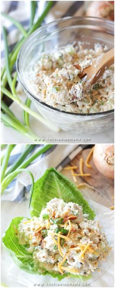 Loaded Chicken Salad- all of the things you top baked potato with mixed in creamy chicken salad for the most delicious lunch you have ever had! It is filled with cheese, bacon, chives, and a secret ingredient! Best Chicken Salad Recipe, Chicken Recipes, Chicken Salad Recipe With Cream Cheese, Chicken Salad Without Mayo, Keto Chicken Salad, Chicken Sandwich, Cooking Recipes, Healthy Recipes, Vegetarian