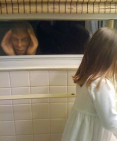 The Scary Peeper is a three dimensional face that sticks to the window and appears as if someone is staring in at you.