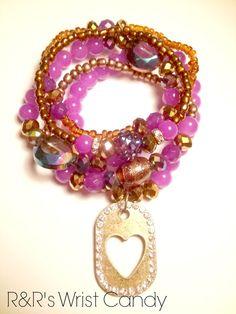Purple and  Bronze Charm Beaded Bracelet Set by RandRsWristCandy, $9.00