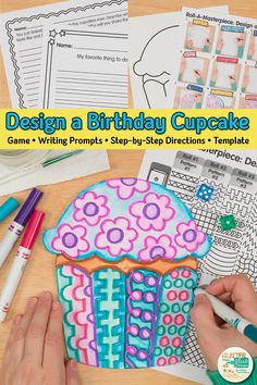 Searching for unique birthday display in the classroom that students will love? Have kids design their own cupcake using a roll and draw art game! Going to be absent? Fill up your art sub plans folder with no-prep art projects. Includes writing prompts, too! Great for classroom teachers and homeschooling parents looking for art integration lessons. | Glitter Meets Glue #happybirthday #birthdaydisplay #classroomdecor #artlesson #craftsforkids