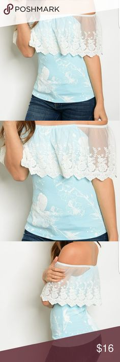 """NWOT Off Shoulder blouse with lace flounce NWOT. Item is brand new, but no tag. This was purchased directly from distributor so I have multiple quantities of this. Light blue with white lace flounce off shoulder top. ** sorry no trades - please do not post offers in comments ** * junior size.*For reference, I usually wear a med in juniors & VS bra size 36DD & fit this in a Med. Approx bust measurements: Small: B-36"""" gently stretched Med: B-38"""" gently stretched Lg: B-40"""" gently stretched Tops…"""