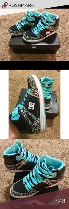 D.C. Women Rebound High Top shoes The shoes only been wear by once! Look like brand new! The color is cool! Will be ship in the original box. DC Shoes Sneakers