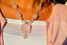 Chunky Beaded Pink Quartz Necklace Rose Soft by uniquebeadingbyme