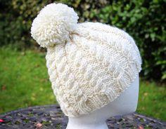 Hand Knit Hat - Chunky Cable Snug Beanie in Cream - Luxury Merino Wool £32.50