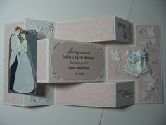 Wedding Tri-Fold Shutter Card by MommaCats - Cards and Paper Crafts at Splitcoaststampers Tri Fold Cards, Fancy Fold Cards, Folded Cards, Love Anniversary, Wedding Anniversary Cards, Wedding Cards, Cascading Card, Shaped Cards, Marianne Design
