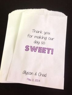 Personalized Wedding Favor Bags Candy Buffet by SweetLoveCandy, $25.00 #candybuffet #wedding #babyshower