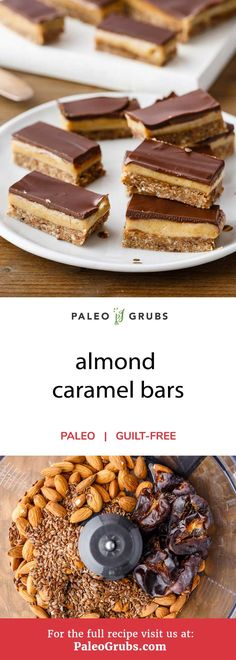 Just wait until you try out these completely paleo-friendly almond caramel bars. Theyve got a wonderful base caramel and chocolate glaze that are all made completely from scratch. They make a great tasty snack that will fuel your body with plenty of en Paleo Sweets, Paleo Dessert, Low Carb Desserts, Health Desserts, Dessert Bars, Dessert Recipes, Candy Recipes, Drink Recipes, Cobbler