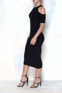 COLD SHOULDER RIBBED DRESS (Black) from Kosmios