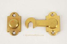 Antique cast brass shutter latch set, circa 1900