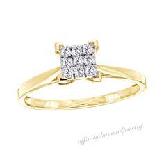 1/10 ct D/VVS1 Diamond Square Cluster Promise Ring In 14K Yellow Gold Over $999 #AffinityDiamondJewelry #Cluster #EngagementWeddingAnniversaryMemorialDay