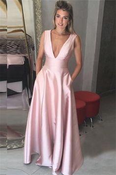 Prom Dresses,Pink Satin Prom Dresses,V Neck Prom Dresses,Prom