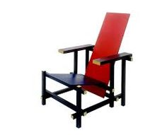 De Stijl Chair, overlapping planks, slanty back, wooden construction, primary colors: red and blue and yellow ends Rietveld Chair, Chair Design, Furniture Design, Interior Definition, Blue Armchair, Piet Mondrian, Interior Decorating, Interior Design, Cool Chairs
