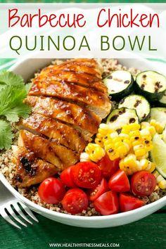 Barbecue Chicken Quinoa Bowl | Barbecue Chicken Recipes | Chicken Recipes | Quinoa Bowl Recipes | Healthy Dinner Recipes | Healthy Lunch Recipes | Healthy Fitness Meals | #healthyfitnessmeals #barbecue #chicken #quinoa #bowl #healthy