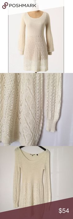 """Knitted & Knotted Bishop Sleeve Pointelle Tunic Knitted & Knotted Ivory / Cream / Off-White Bishop Sleeve Pointelle Tunic from Anthropologie! Openwork detailed trim & a luxe alpaca boatneck. Pullover styling, dry clean, style no. 23066194. Slightly puffed sleeves with cuffs. In excellent used condition- barely worn. 100% alpaca. About 32 1/2"""" long, 15"""" pit to pit (unstretched), bust can stretch up to 25""""+ across, sleeves 22"""" long, neckline 13"""" across. Could also fit a small or medium, but…"""