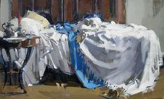 MAGGIE SINER - PAINTINGS, Single Unmade Bed 201, 18x30, oil on linen>>>>>>>>>>