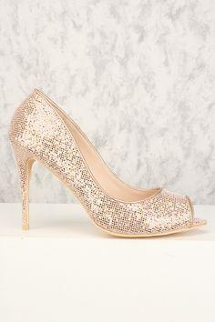 Sexy Rose Gold Sequin Open Toe Single Sole High Heels High Heel Pumps, Pumps Heels, Stiletto Heels, Spring Shoes, Summer Shoes, Rose Gold Heels, Prom Heels, Womens High Heels, Open Toe