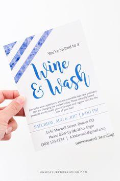 Monat hair event invitation. Customizable templates from Unmeasured Branding