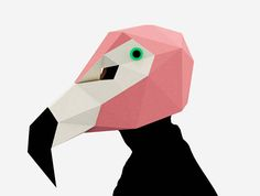 Flamingo Mask Bird Mask Paper Mask Animal Mask DIY