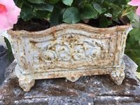 Antique French Cast Iron Silver Rusty flower planter jardiniere, by Fauve Revin