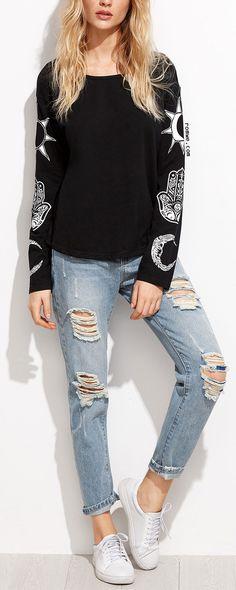Black Vintage Print Drop Shoulder T-shirt