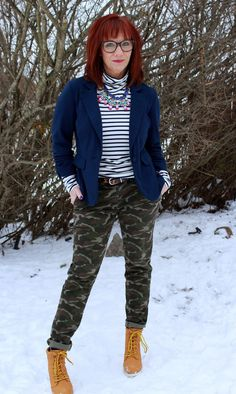 Fashion Fairy Dust: Camo pants, Striped Turtleneck, Blue Blazer, Statement Necklace And High Heeled Work Boots