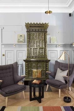 lamp and papa bear chairs Living Room Inspiration, Interior Inspiration, Small Luxury Hotels, Swedish Style, Decoration, Furniture Decor, Living Spaces, House Design, Interior Design