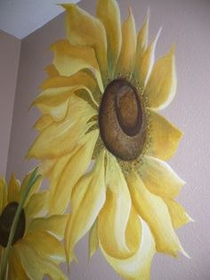 Flower Murals, I painted my small bathroom walls about 6 yrs ago with these very large, bright flowers to bring my love for them and painting, indoors. I usually get tired of a specific decor very quickly and change things often in my home, but these are still making me happy! , I love Sunflowers so had to fit them in somewhere! , Bathrooms Design