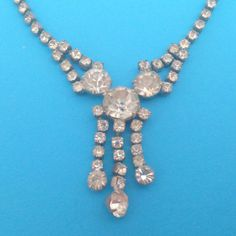 Vintage Prong Set Clear Rhinestone Necklace by BorrowedTimes on Etsy