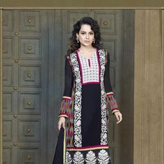 Black and Multi Color Faux Georgette Churidar Kameez