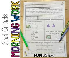 Grade Morning Work - Fun in First Classroom Solutions, Teacher Sites, Morning Work, Morning Meetings, Teaching Profession, School Readiness, Reading Passages, First Grade, Second Grade
