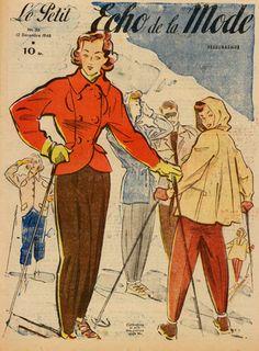 Vintage Ski Print, 1940's