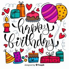 Happy Birthday Doodles, Happy Birthday Drawings, Happy Birthday Black, Happy Brithday, Happy Birthday Greetings, Birthday Quotes Bff, Birthday Card Sayings, Birthday Wishes Cards, Bday Cards